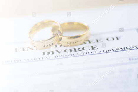 Wedding rings on divorce papers